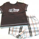 Little Me Baby Boys 6 Mos Baseball Champ Tee Shirt and Plaid Shorts 2-Piece Set