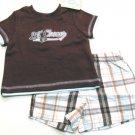 Little Me Baby Boys 6 Mos Baseball Champ Tee Shirt and Plaid Shorts 2-Piece Set