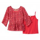 Mudd Girls size 10 Coral Pink Floral Chiffon Babydoll Shirt and Matching Cami Set