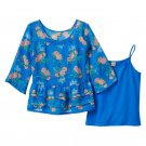 Mudd Girls size 12 Blue Floral Chiffon Babydoll Shirt and Matching Cami Set