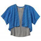 Mudd Girls size 10 Blue Floral Chiffon Kimono Wrap Shirt and Gray Tank Top Set