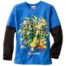 Lego Ninjago Boys L 14-16 Long Sleeve Blue Tee Shirt Long Sleeve T-shirt