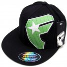 Famous Stars and Straps Classic Badge FlexFit Hat sz S-M Black Cap with Green Logo