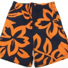 Carters Baby Boys size 18 Mos Navy Blue and Orange Floral Print Shorts Hibiscus
