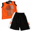 New Balance Boys 3T Orange Sleeveless Shirt and Black Basketball Shorts 2-Piece