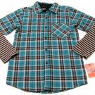 Nike 6.0 Boys 14-16 Blue Plaid Flannel Button-down Shirt with Striped Thermal Sleeves