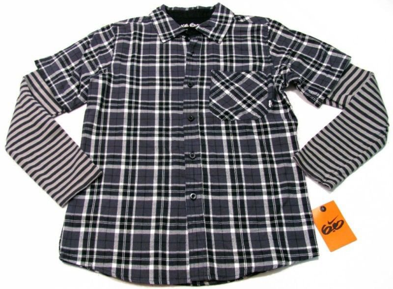 74419c4a Nike 6.0 Boys 14-16 Gray Plaid Flannel Button-down Shirt with Striped  Thermal Sleeves