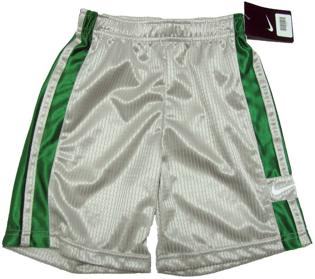 Nike Boys Size 4 Gray Gym Shorts with Green Stripes ...