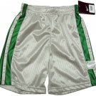Nike Boys Size 4 Gray Gym Shorts with Green Stripes Basketball Athletic Shorts