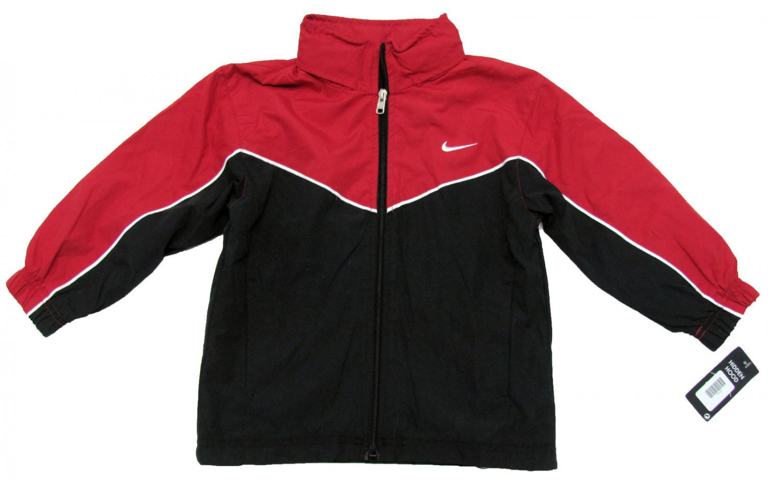 e3a36910d20a Nike Boys Size 4 Red and Black Windbreaker Jacket with Hidden Hood New