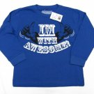 Always Grounded Boys sz 4-5 Im With Awesome Funny T-Shirt Blue Long Sleeve Tee Shirt