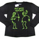 Always Grounded Boys sz 4-5 Watch Your Back Funny Stick Figure T-Shirt Black Tee Shirt