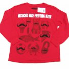 Always Grounded Boys XS 4-5 Funny Mustache T-shirt Red Long Sleeve Tee Shirt