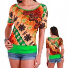 Bon Mere Juniors S Orange and Green Dolman Top Shirt with V-Back New