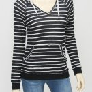 Roxy Juniors S Black and White Stripe Sweater Hoodie V-neck Hooded Pullover