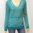 Roxy Juniors M Teal Blue Stripe Sweater Hoodie V-neck Hooded Pullover