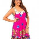 Available Juniors L Pink Floral Summer Dress with Crochet Lace Racerback