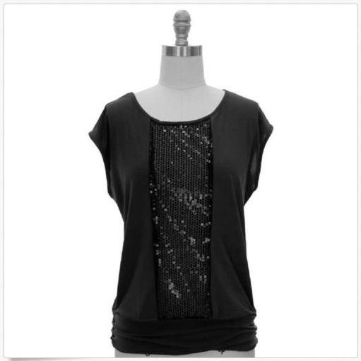 Jon and Anna Womens M Black Sequin Top Blouse Shirt