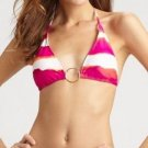 Ralph Lauren Womens XS Watercolor Halter String Bikini Top Pink Orange White Stripe Women's Swim