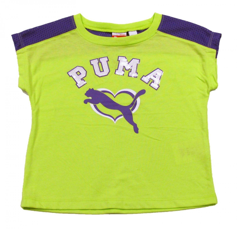 Puma girls size 5 neon green t shirt with purple mesh for Bright purple t shirt