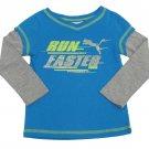 Puma Girls 2T Run Faster Blue Long Sleeve T-shirt Toddler Girl's Glitter Tee Shirt