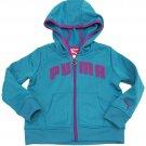 Puma Girls Size 2T Blue Hoodie Toddler Girl's Active Core Zip Hoodie Sweatshirt New