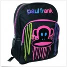 Paul Frank Backpack Julius Paint Drip Bookbag Bag Black Pink Kids Girl's