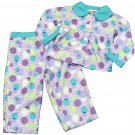 Puma Girls 2T Purple Polka Dot Fleece Pajama Shirt and Pants 2-Piece Sleep Set