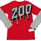 Zoo York Boys L 16-18 Red Tee Shirt with Long Gray Thermal Sleeves Boy's Large