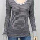 Roxy Juniors XS Cozy Up Gray Stripe Knit Button V-neck Shirt Junior's Long Sleeve