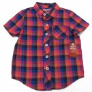 Arizona Boys 4T Purple Plaid Button-down Shirt Toddler Boy's Short Sleeve Camp Shirt Pocket