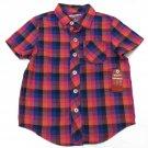 Arizona Boys 4T Purple Plaid Button-down Shirt Toddler Boy's Short Sleeve Camp Shirt Pocket