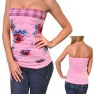 Finesse Juniors S Pink Floral Tube Top Shirt with Plaid Trim Small