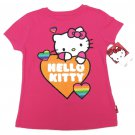 Hello Kitty Girls size 5 Glitter Heart T-shirt Kids Pink Short Sleeve Tee Shirt