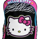 Hello Kitty Girls Black and Pink Zebra Print Backpack Bag