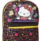 Hello Kitty Girls DJ Backpack Black Book Bag Girl's Music Lover
