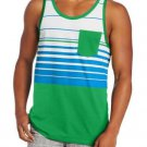 DC Shoes Mens L Green Stripe Overturn Tank Top Shirt with Pocket Men's Large