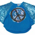Knitworks Girls XL Sequin Dolman Peace Shirt Blue Girl's Extra Large