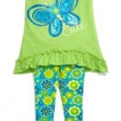 Kidtopia Baby Girls 12 Months Green Butterfly Tunic Shirt and Floral Leggings 2-Piece Set