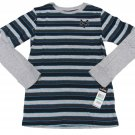 Zoo York Boys L 16-18 Long Sleeve Striped T-shirt Youth Blue Gray Tee Shirt