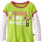 Paul Frank Baby Girls 18 Months Hugs Are Free Mock Layer Tee Shirt Lime Green Long Sleeve T-shirt