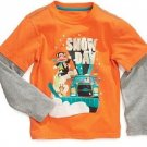 Paul Frank Baby Boys 18 Months Snow Day Mock Layer Tee Shirt Orange Long Sleeve T-shirt