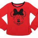 Disney Girls size 7-8 Minnie Mouse T-shirt Red Long Sleeve Tee with Black Sequin Bow