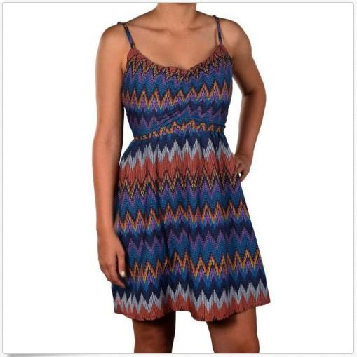 Roxy Juniors XS Shorebreak Dress Navy Blue Chevron Print Dress Extra Small