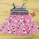 Sugah & Honey Girls 3T Black White Pink Summer Dress Striped Floral Sleeveless