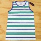 Tommy Hilfiger Boys M 12-14 Green and Blue Stripe Tank Top Sleeveless Shirt
