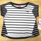 Puma Girls size 5 Black and White Stripe High-Low T-shirt Short Sleeve Tee Shirt Kids Girl's
