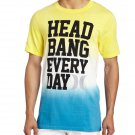 Hurley Mens L Head Bang Tie-Dye Tee Shirt Yellow Blue White Men's Large Short Sleeve