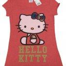 Hello Kitty Juniors M HK Plaid Side Sit Tee Shirt Heather Red T-shirt Short Sleeve Medium Sanrio