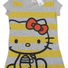 Hello Kitty Juniors M Sitting Stripes Tee Shirt Heather Gray T-shirt Medium Sanrio